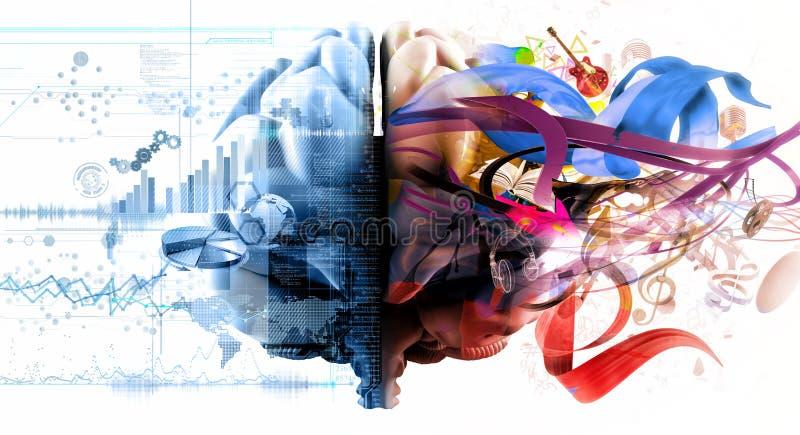 Funções do cérebro esquerdo e direito ilustração stock