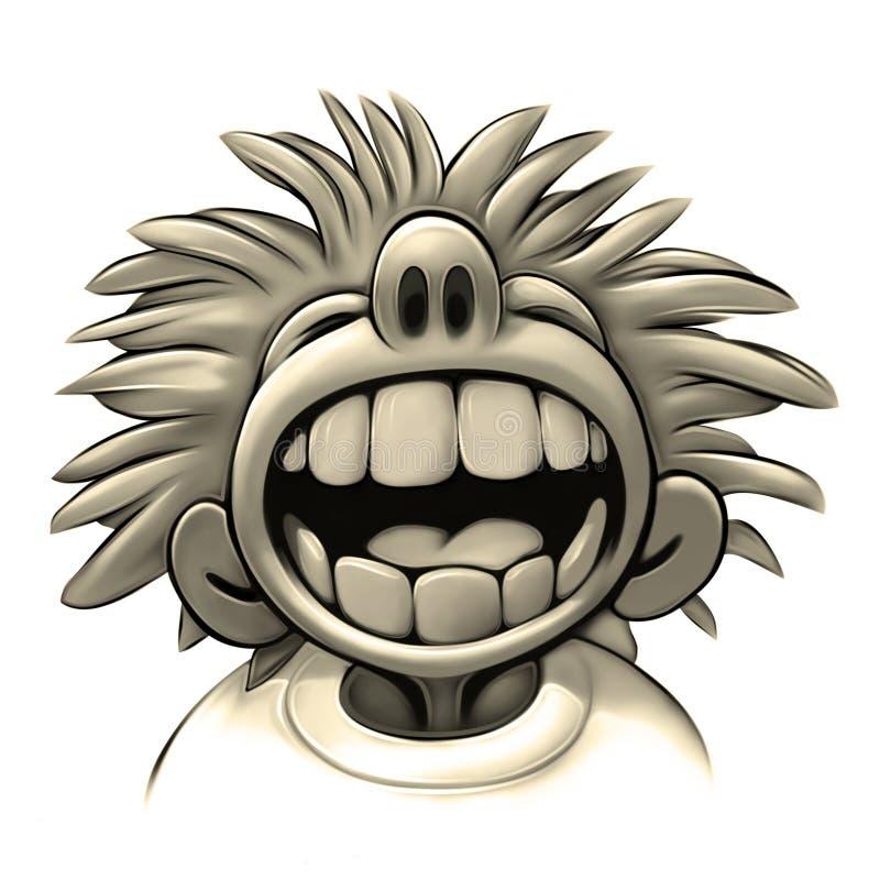Fun. Boy laughing. Wide mouth. Big teeth vector illustration