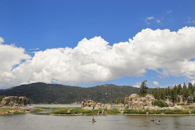 Big Bear lake. Fun afternoon at Boulder Bay park, Big Bear Lake California royalty free stock photo