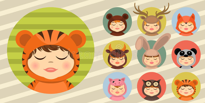 Fun animal costumes, avatars set. Set of Fun animal costumes kids avatars set royalty free illustration