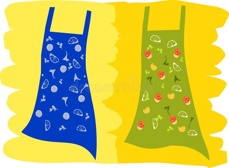 Fun Aprons with food icons royalty free stock image