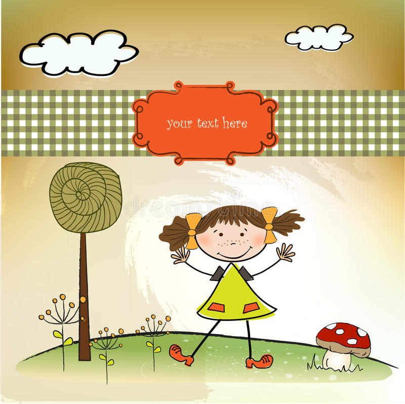 Fun background with little girl royalty free illustration