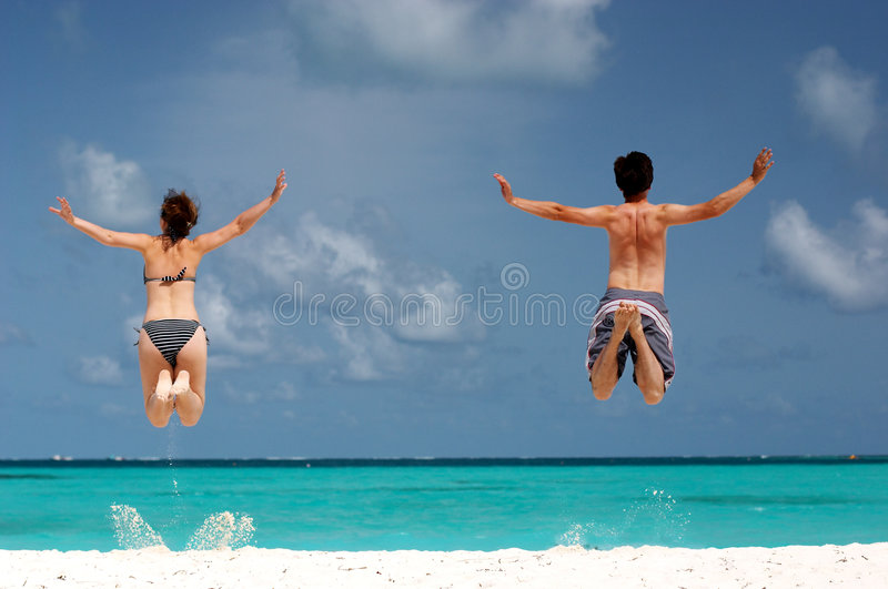 Fun at the beach royalty free stock photo