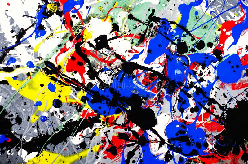 Fun beautiful composition artwork design of colorful abstract art expression with fun brush stroke and point watercolor ink. Painting and pen line draw on white royalty free stock photos