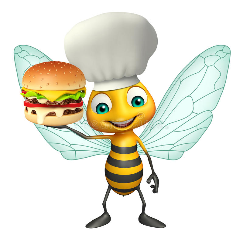 Fun Bee cartoon character with burger and chef hat. 3d rendered illustration of Bee cartoon character with burger and chef hat vector illustration