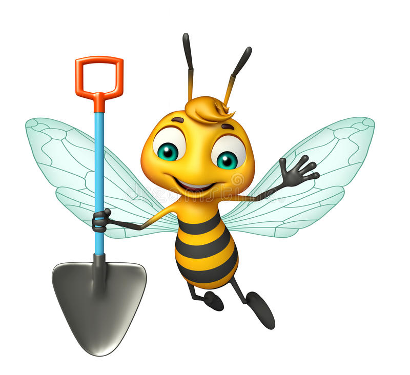 fun Bee cartoon character with digging shovel stock illustration