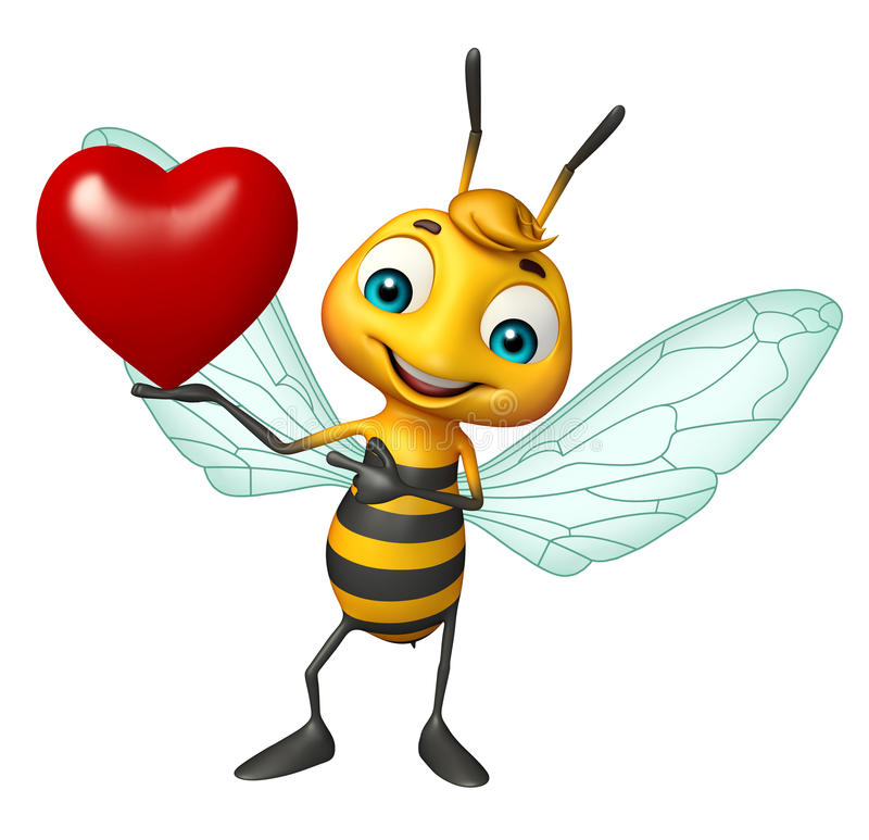 Fun Bee cartoon character with heart. 3d rendered illustration of Bee cartoon character with heart royalty free illustration