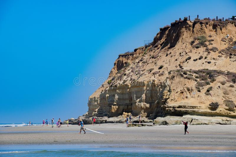 Fun at the Bluffs in Del Mar. Activity at Del Mar Beach in California royalty free stock images