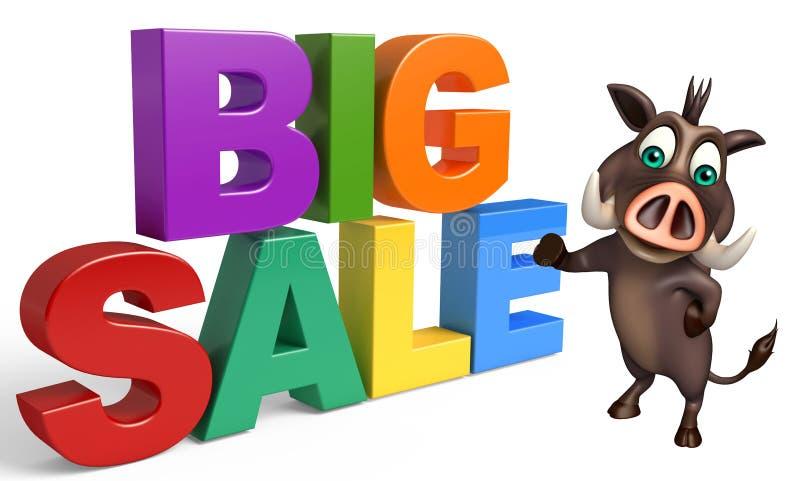Fun Boar cartoon character with big sale royalty free illustration