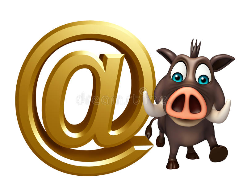 Fun Boar cartoon character with at the rate sign royalty free illustration