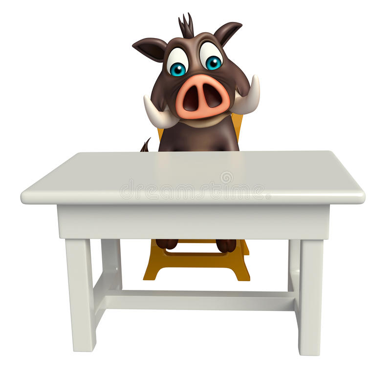 Fun Boar cartoon character with table and chair. 3d rendered illustration of Boar cartoon character with table and chair royalty free illustration