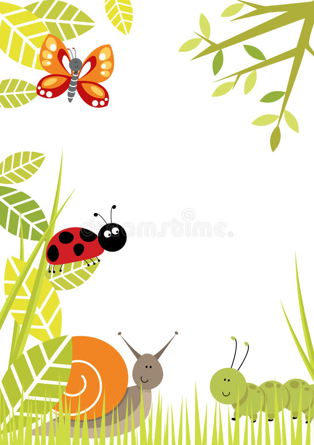 Cute insects border
