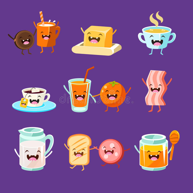 Fun Breakfast. Food with cute faces, happy vector illustration