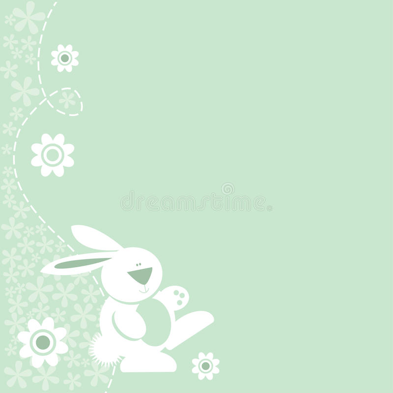 Cute Bunny Rabbit Floral Border