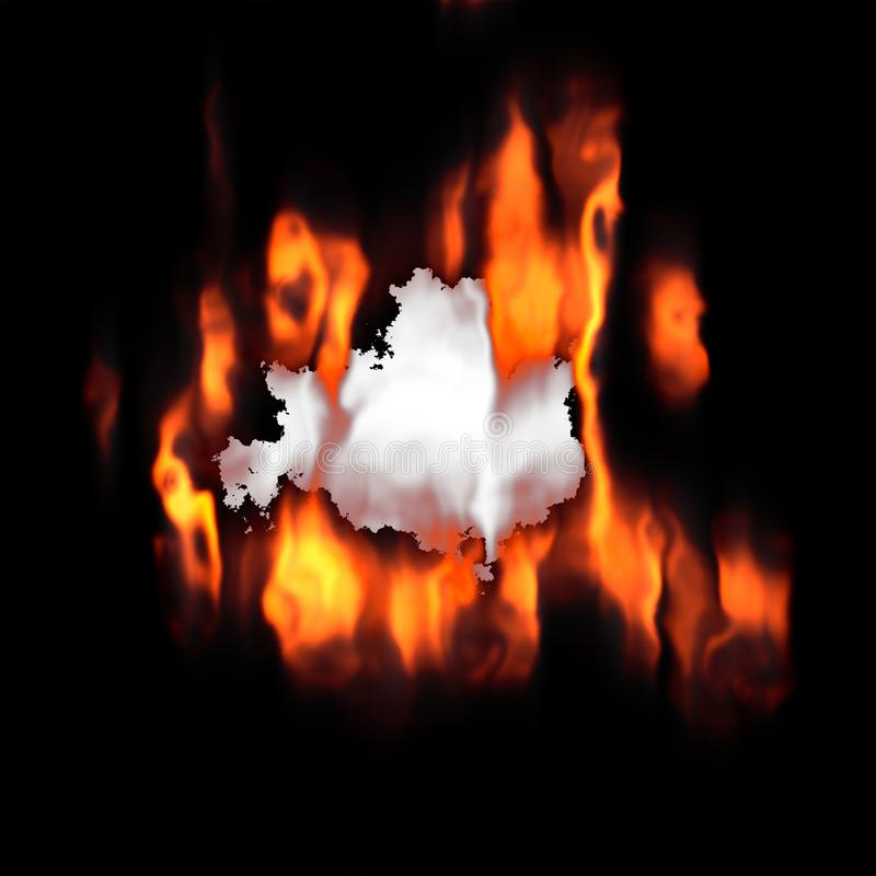 Hot Flames Burning Hole Paper stock image