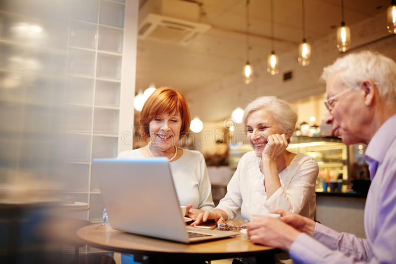 Fun in cafe stock photography