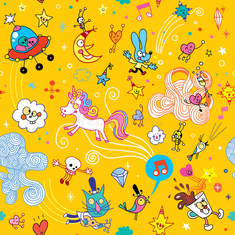 Fun cartoon characters seamless pattern. Group of fun cartoon characters seamless pattern stock illustration