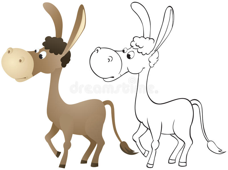 Download Fun cartoon donkey stock vector. Image of outline, happy - 24664948