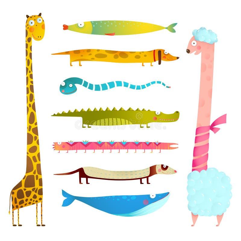 Fun Cartoon Long Animals Illustration Collection for Kids Design vector illustration