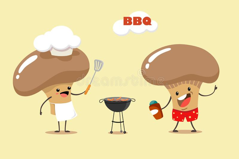 Fun and cartoon mushrooms make a barbecue. Vector illustration for summer barbecue party. Fun and cartoon mushrooms make a barbecue. Vector illustration stock illustration