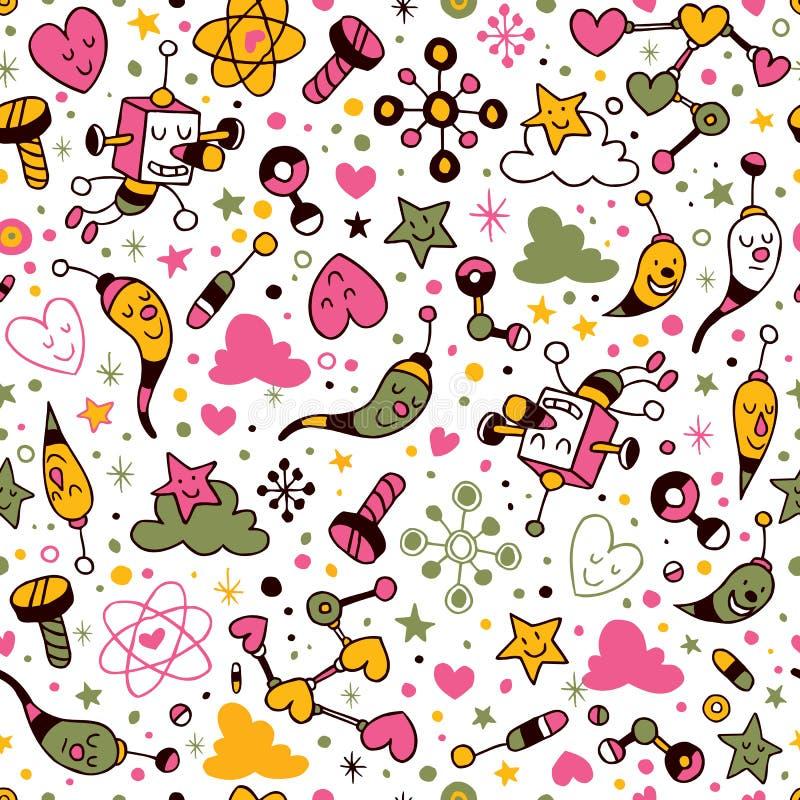 Fun cartoon pattern. Hey, this looks really nice vector illustration