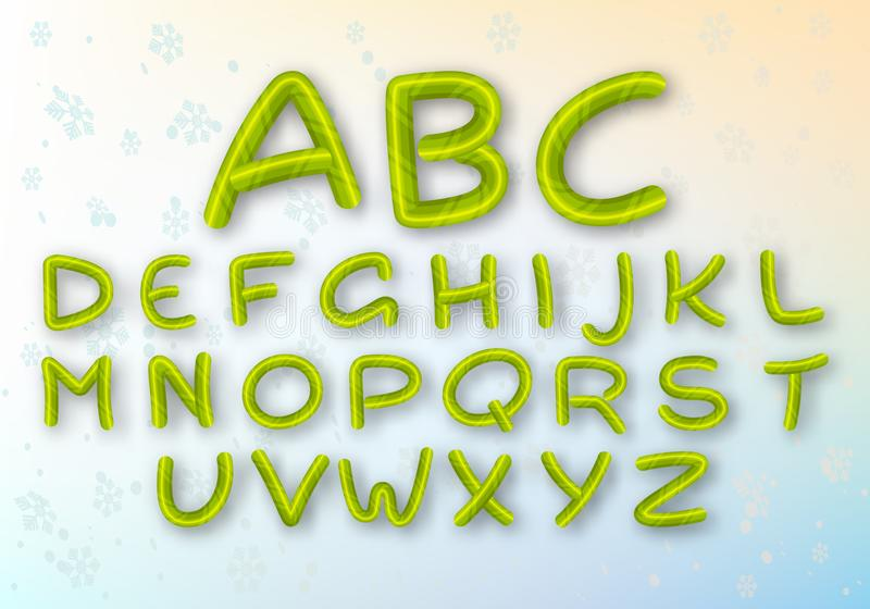 A set of green caramel letters. Bright vector New Year`s font. ABC. Striped cartoon alphabet. royalty free illustration