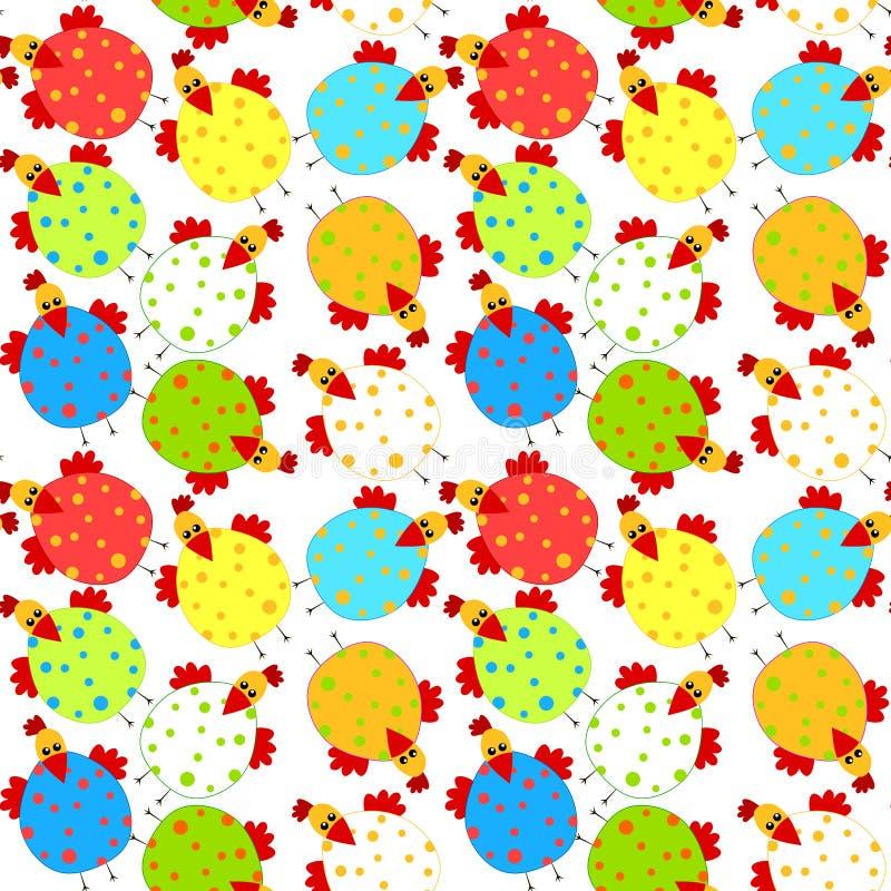 Fun Chicken seamless background vector illustration
