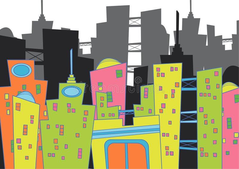 Fun cityscape. With silhouette - cartoon illustration