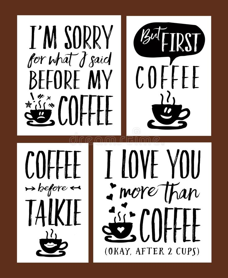 Fun Coffee Time Lettering Phrases Vector Set stock illustration
