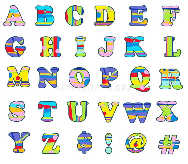 Fun Colorful Alphabet Capital Letters. Fun Colorful Alphabet with Capital Letters for Invitations Parties Kids events and more stock illustration