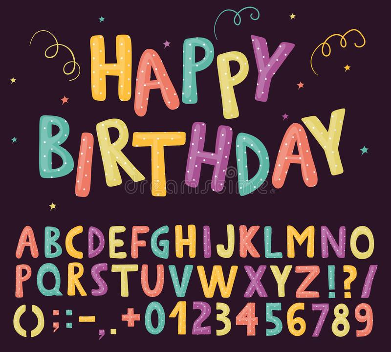 Fun colorful alphabet with polka-dots pattern royalty free illustration