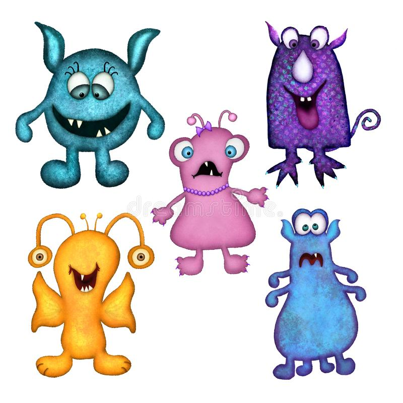Fun Colorful Monsters Set of Five. Set of five fun, colorful monsters that were hand drawn and then digitally painted. Each monster is isolated on a white vector illustration