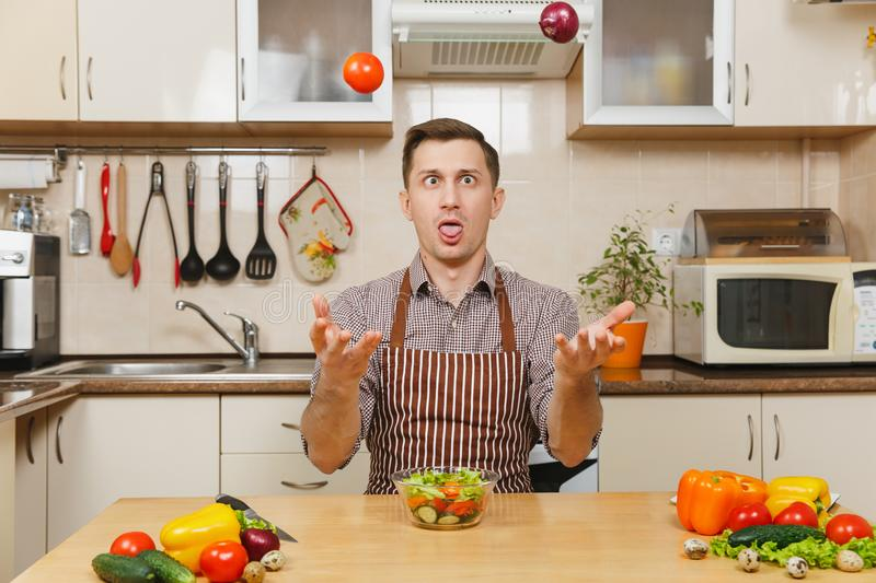 Handsome caucasian young man, sitting at table. Healthy lifestyle. Cooking at home. Prepare food. Fun crazy caucasian young man in apron, brown shirt sitting at royalty free stock image