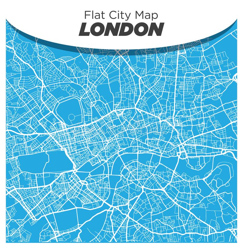 Fun and Creative Flat Street Map of London England on Blue Background stock photos