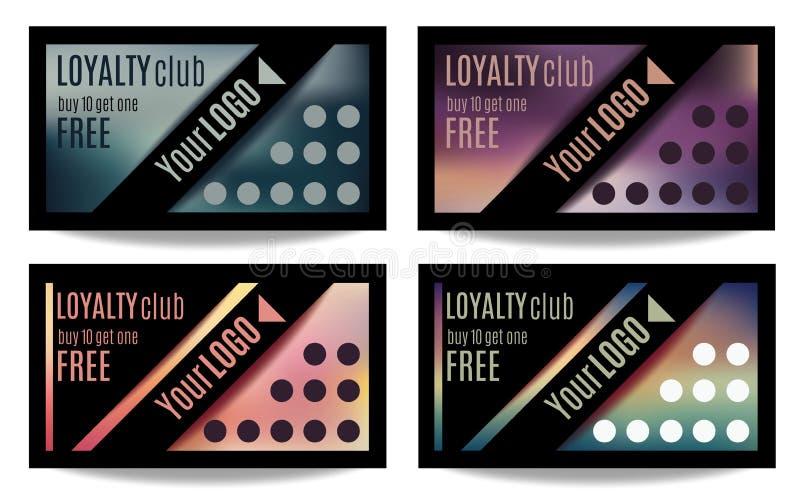 Fun customer loyalty card templates. Set of four Customer loyalty card or reward card templates stock illustration