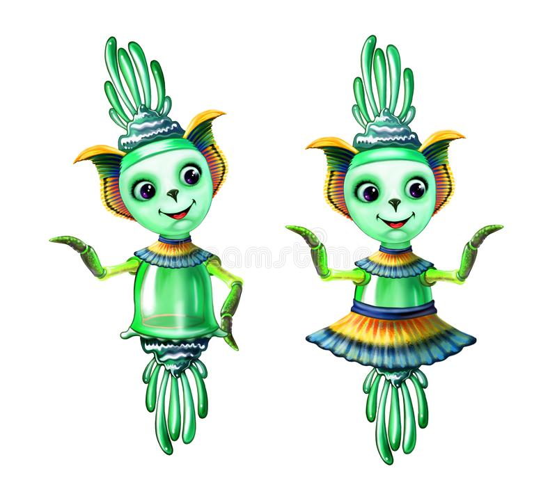 Cute aliens royalty free illustration