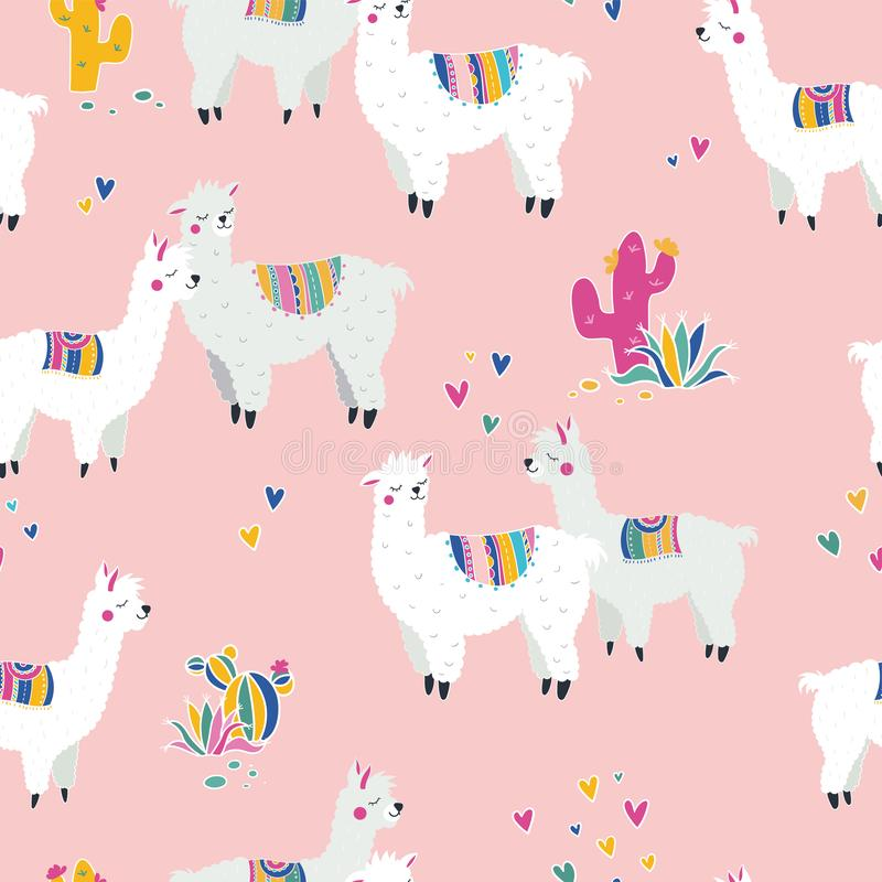 Fun and cute alpaca seamles pattern, cartoon characters on colorful background, trendy and stylish hipster backdrop, great for. Fashion prints, banners royalty free illustration