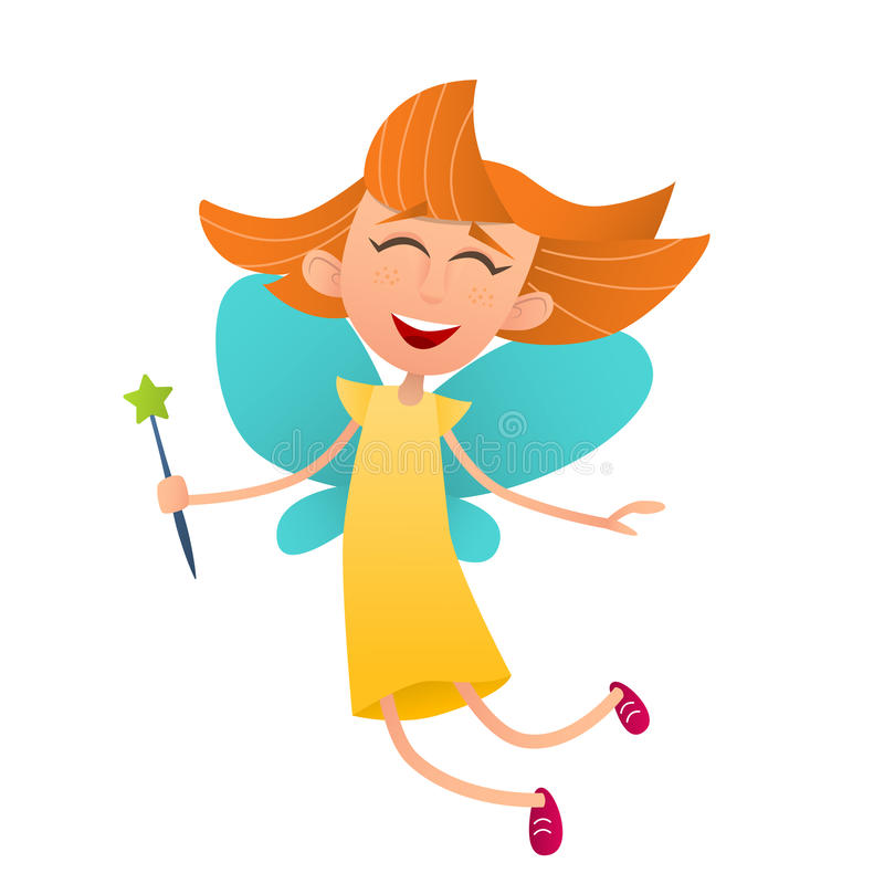 Fun cute fairy girl with wings and a magic wand royalty free illustration