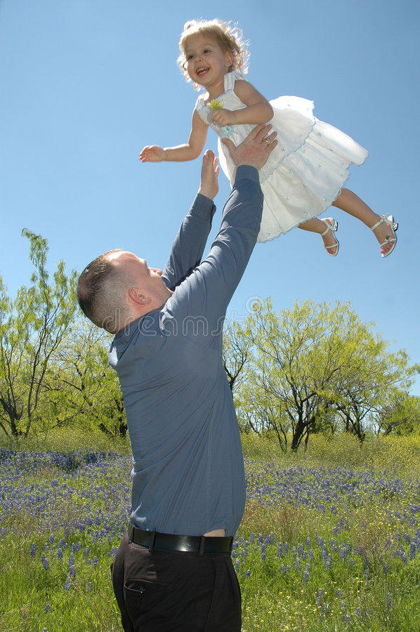 Download Fun with Dad stock photo. Image of field, hair, blue, curious - 2281930