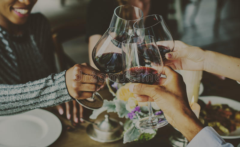 Fun Dinning Wine Drink Together Celebration stock photography