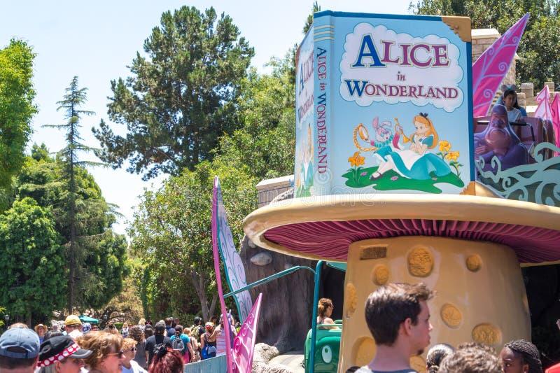 Fun at Disneyland Park in Anaheim, California, USA. Festive entertainment attractions royalty free stock photos
