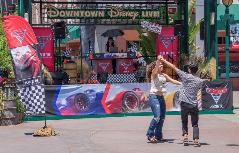 Fun at the Disneyland Park in Anaheim. People dancing on the street royalty free stock photos