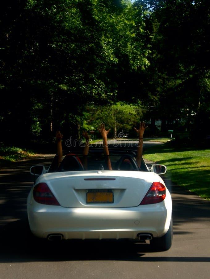Fun driving a convertible stock photos