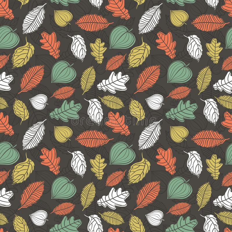 Fun and elegant seamless pattern with falling leaves, fall autumn background, great for seasonal fashion prints, wallpapers, vector illustration