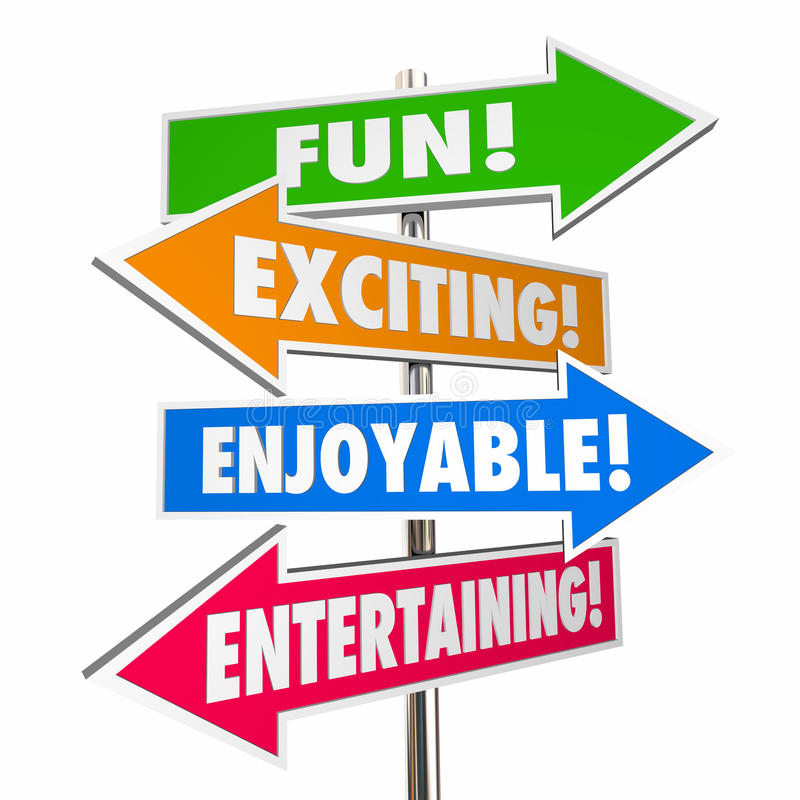 Fun Exciting Entertaining Enjoyable Signs Words Stock ...