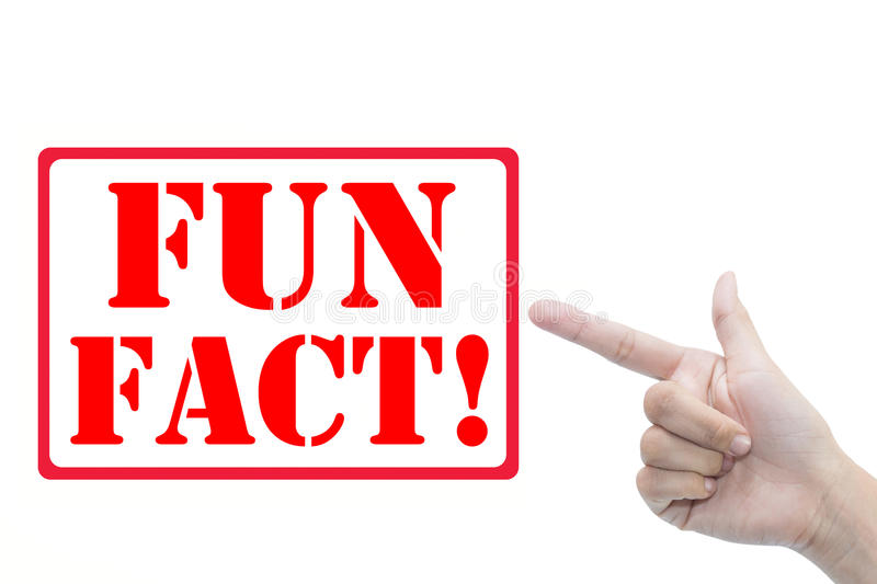 Fun fact. A finger pointing at the text fun fact! on a white background stock images