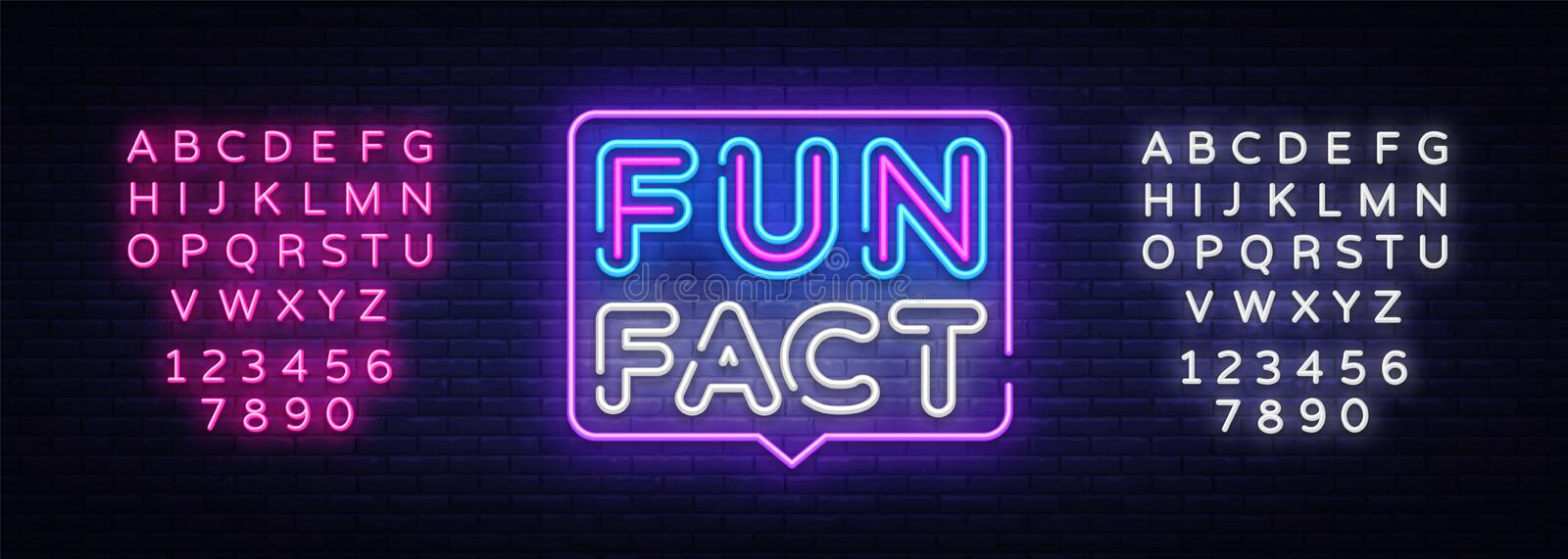 Fun Fact neon sign vector. Facts Design template neon sign, light banner, neon signboard, nightly bright advertising stock illustration