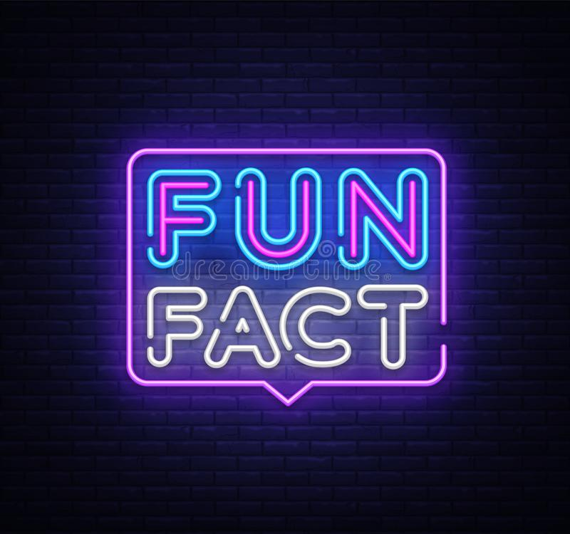 Fun Fact neon sign vector. Facts Design template neon sign, light banner, neon signboard, nightly bright advertising royalty free illustration