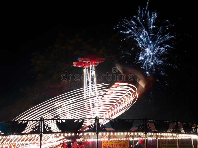 Fun fair at night royalty free stock photography