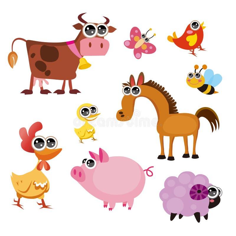 Fun Farm animals stock illustration